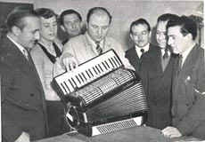 Bruno at work in a London accordion factory in the 1950's